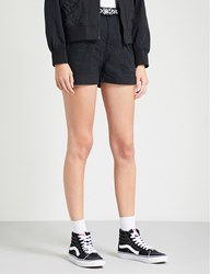 Mini Cream Chequered Belted Cotton Shorts Black