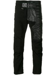 Haider Ackermann Leather Biker Patch Trousers Cotton Leather S Black