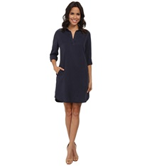 Kut From The Kloth Long Sleeve Shirt Dress Indigo Women's Dress Blue