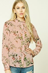 Forever 21 Floral And Bird Mock Neck Shirt Blush Green