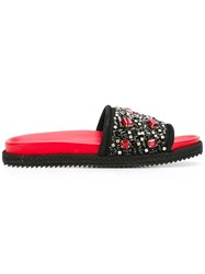 Ermanno Scervino Embellished Flat Sandals Black