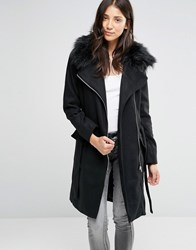 Brave Soul Longline Belted Coat With Faux Fur Trim Black