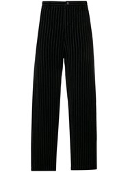 Ziggy Chen Pinstripe Straight Leg Trousers Black