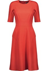 Lela Rose Flared Twill Dress Bright Orange