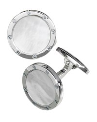 Round Mother Of Pearl Cuff Links Silver Jan Leslie