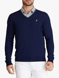 Ralph Lauren Polo Golf By Merino Wool V Neck Jumper French Navy