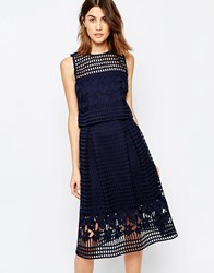 Warehouse Floral Mesh Lace Crop Top Navy