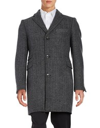 Black Brown Herringbone Walker Coat Grey