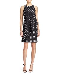 Ralph Lauren Asymmetric Overlay Polka Dot Crepe Dress 100 Exclusive Black White