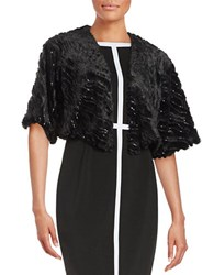 Marina Sequined Faux Fur Bolero Jacket Black