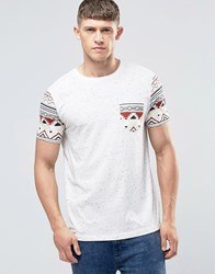 Asos Muscle T Shirt In Ecru Nepp Base With Aztec Sleeves And Pocket Ecru White