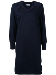 Muveil V Neck Sweater Dress Blue
