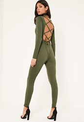 Missguided Khaki Lace Up Back Long Sleeve Jumpsuit