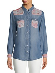 Etienne Marcel Denim Button Down Shirt Navy Pink