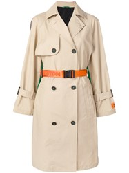 Heron Preston Contrast Back Trench Coat Neutrals