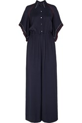 Roland Mouret Clifford Embroidered Twill Jumpsuit Navy