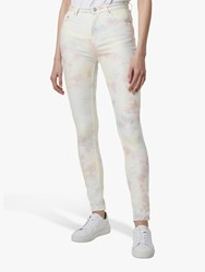 French Connection Sade Tie Dye Skinny Jeans Lotus Pink Multi