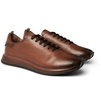 Officine Creative Race Lux Burnished Leather Sneakers Brown