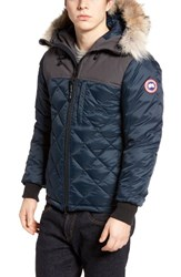 Canada Goose Men's Pritchard Genuine Coyote Fur Trim Down Parka Ink Blue Graphite
