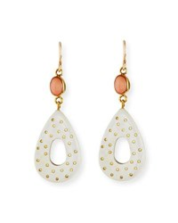 Ashley Pittman Bendi Light Horn And Coral Teardrop Earrings