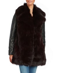 Badgley Mischka Leather Trimmed Fox Fur Coat Burgundy Black