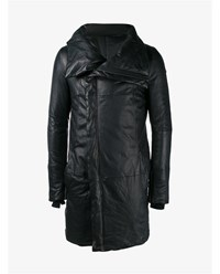 The Viridi Anne Lambskin Leather Coat Black Khaki