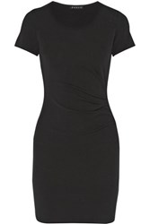 Theory Citkona Ruched Stretch Jersey Dress Black
