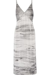 Raquel Allegra Tie Dyed Silk Charmeuse Midi Dress Gray