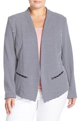 Plus Size Women's Sejour 'Jetsetter' Ottoman Knit Jacket Navy White Jetset Pattern