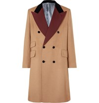 Gucci Velvet And Twill Trimmed Double Breasted Camel Hair Coat Brown