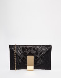 Chi Chi London Chi Chi Envelope Clutch Bag In Black With Gold Fastening