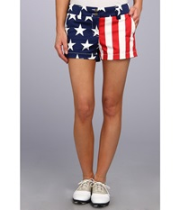 Loudmouth Golf Stars Stripes Mini Short Red White Blue Women's Shorts Multi