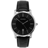Sekonda 3346.27 Men's Classic Baton Marker Leather Strap Watch Black