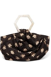 Kayu Net Sustain Suki Floral Print Silk Tote Dark Brown