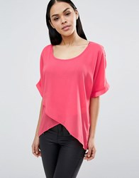 Pussycat London Short Sleeve Top Coral Pink