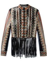 Valentino Tribal Print Fringed Jacket Black