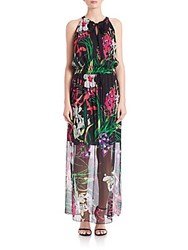 Elie Tahari Trans Cayla Island Floral Silk Dress Black