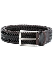 Canali Braided Buckle Belt Brown