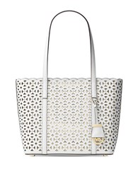 Michael Michael Kors Floral Perforated Saffiano Leather Tote Optic White
