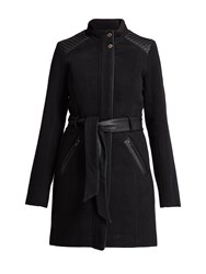 Morgan Leather Look Detail Trench Coat Black