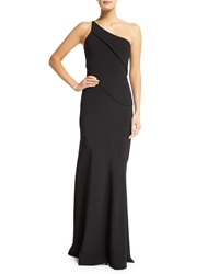 Narciso Rodriguez Asymmetric One Shoulder Crepe Gown Black