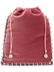Ca And Lou Embellished Drawstring Clutch Pink