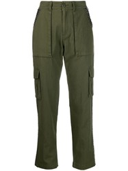 Twin Set Embellished Cargo Trousers Green