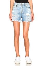 R 13 R13 Shredded Slouch Shorts In Blue