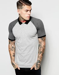 Asos Jersey Polo With Contrast Sleeves In Grey Grey
