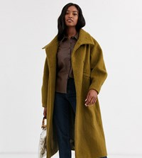 Asos Design Tall Oversized Collared Coat With Sleeve Detail Green