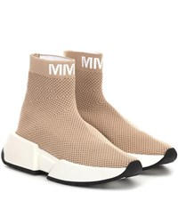 Maison Martin Margiela High Top Sock Sneakers Beige