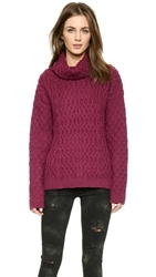 For Love And Lemons Knitz Snow Day Turtleneck Sweater Merlot