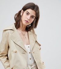 River Island Double Breasted Cropped Trench Coat Beige
