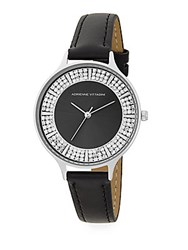 Adrienne Vittadini Av Embellished Analog Watch Silver Black